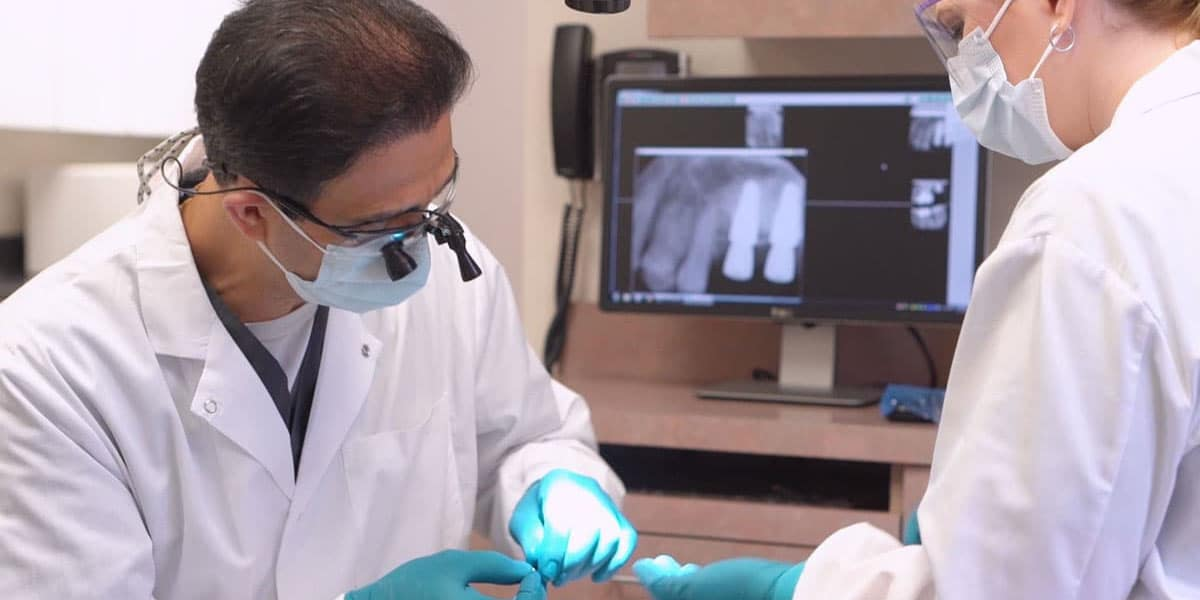 Close up of tooth implant